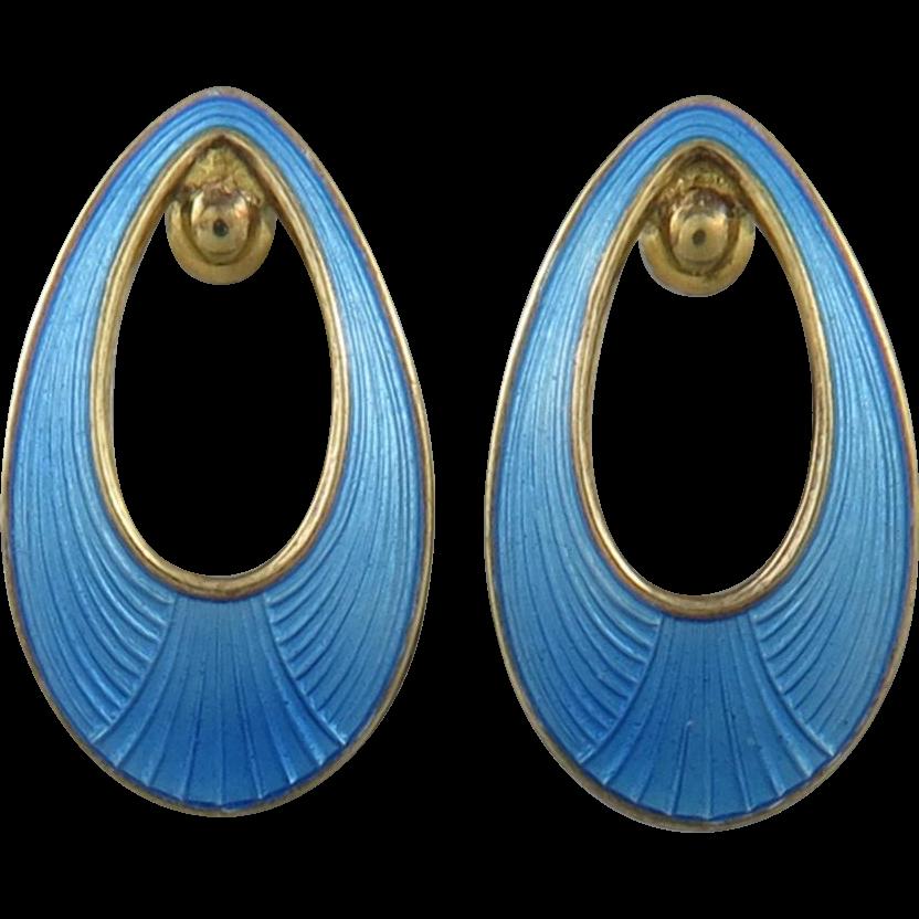 Guilloche Enamel on Gilded Silver Clip Style Earrings Denmark
