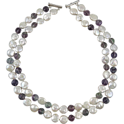 2 Strand Cultured Coin Pearl and Rainbow Fluorite Necklace 21""