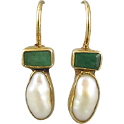Rustic Emerald Cultured Pearl Sterling Vermeil Earrings