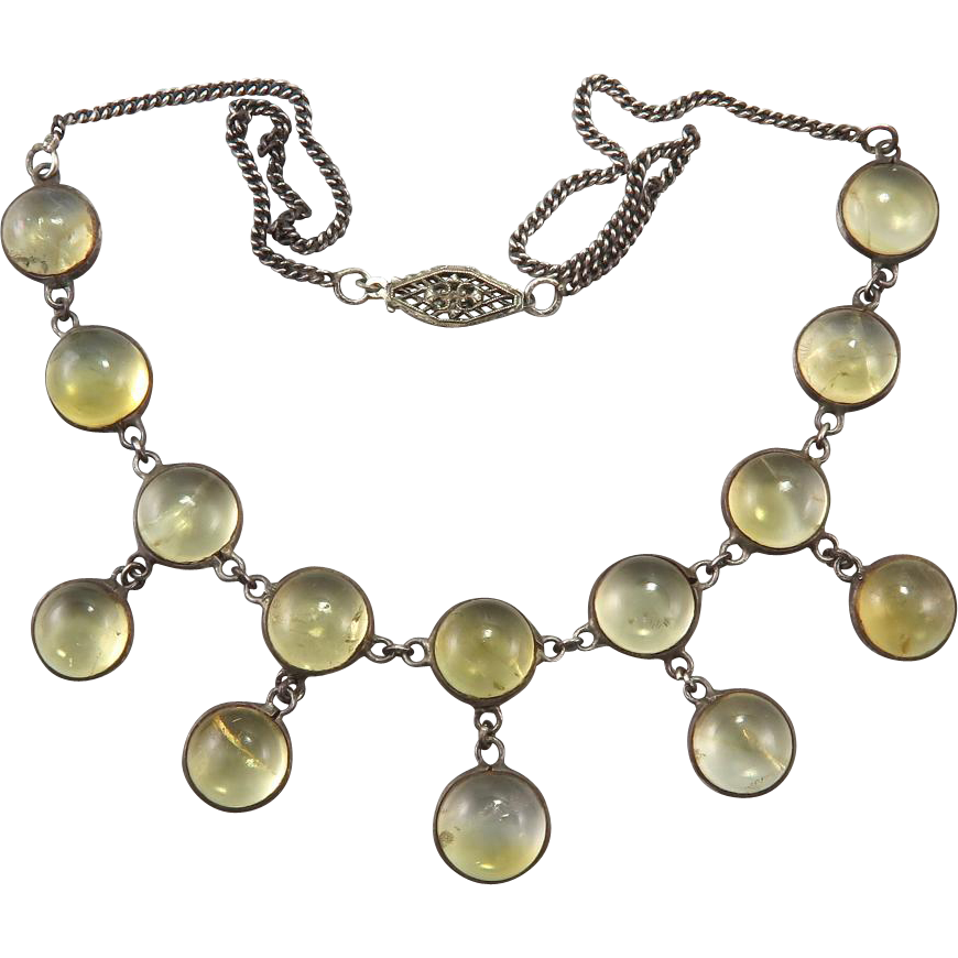 Art Deco Citrine and Sterling Silver Festoon Necklace