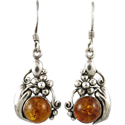Sterling Silver and Amber Pumpkin Dangle Earrings
