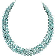 3 Strand Amazonite Necklace Sterling Silver Clasp 20""