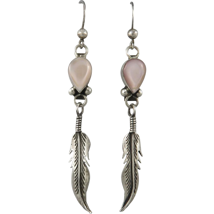 Mother of Pearl Long Sterling Feather Dangle Earrings