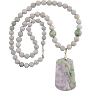 Lavender and Green Jade Carved Pendant Necklace 25""