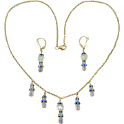 Aquamarine and 18K Enamel Vermeil Festoon Necklace and Earrings 19""