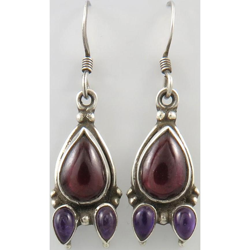 Garnet and Amethyst Sterling Silver Dangle Earrings
