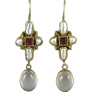 Moonstone Pink Tourmaline and Cultured Pearl Earrings in 14K Vermeil