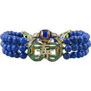 Chinese Enamel on Silver and Lapis 3 Strand Bracelet