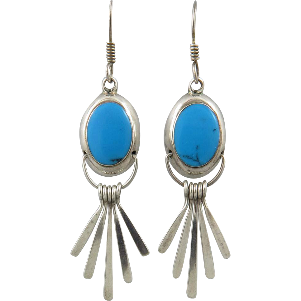 sterling silver fringed turquoise dangle earrings from. Black Bedroom Furniture Sets. Home Design Ideas