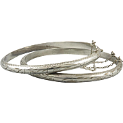 Pair of Sterling Hinged Chased Bangle Bracelets