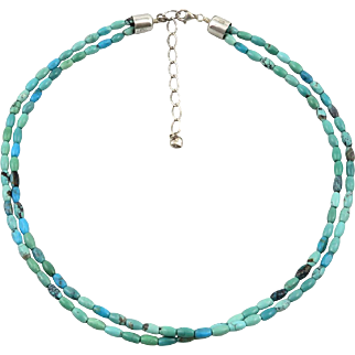 2 Strand Turquoise Beads and Sterling Silver Necklace 21""