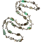 """Chrysoprase Smoky Quartz and Cultured Pearl Long Necklace 42"""""""