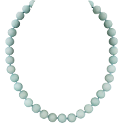 Amazonite Large Bead Necklace Sterling Silver Clasp 21.5""