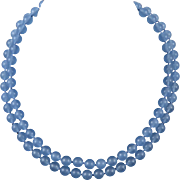 2 Strand Blue Chalcedony Necklace Sterling Silver Clasp 19""