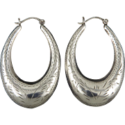Puffy Chased Elongated Hoop Sterling Silver Earrings
