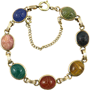 Egyptian Revival Gemstone Scarab Bracelet 12K GF