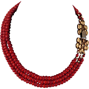 "Antique Dutch Red Oxblood Coral 15K Clasp 3 Strand Necklace 17"" c1880"