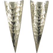Long Hammered Sterling Silver Curved Point Earrings