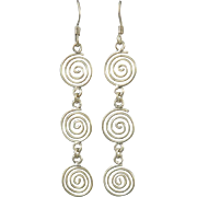 Triple Swirl Dangle Sterling Silver Earrings