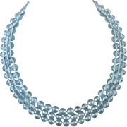 Aqua Chalcedony 3 Strand Necklace 20""