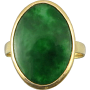 Antique Imperial Green Jade 14K Signet Style Ring