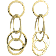 14K Interconnected Hammered Gold Ring Earrings Fabulous!