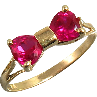 1.25ct Adorable 14K Ruby Bow Heart Ring Lab