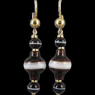 18K Victorian Banded Agate Dangle Earrings