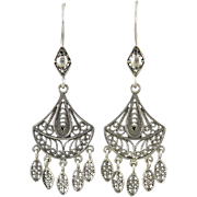 Filigree Silver Exotic Dangle Earrings
