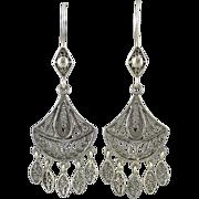 Filigree Silver Exotic Dangle Earrings