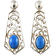 Sterling Open Work Bright Blue Lapis Earrings