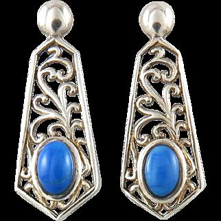 Sterling Open Work Bright Blue Lapis Earrings