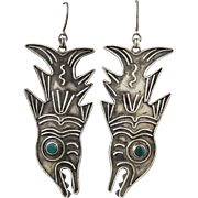Pacific Northwest Sterling  and Turquoise Salmon Earrings Signed