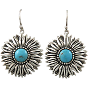 Turquoise and Sterling Sunflower Dangle Earrings