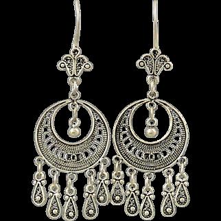 Sterling Filigree Multi Dangle Earrings
