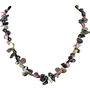 Natural Tourmaline Colorful Flat Bead Necklace 19.5""