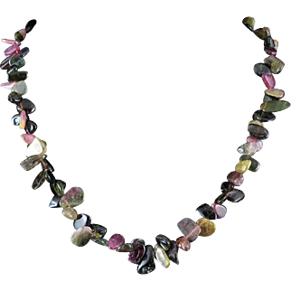 """Natural Tourmaline Colorful Flat Bead Necklace 19.5"""""""
