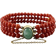 Antique Deep Red Coral and Jadeite Jade 3 Strand Bracelet