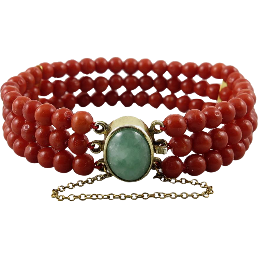 Antique Deep Red Coral and Jadeite Jade 3 Strand Bracelet