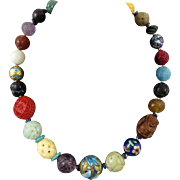 """Chinese Carved Gemstone Enamel and Cinnabar Trade Bead Necklace 24"""""""