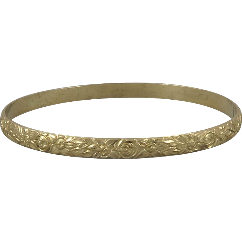 14K Carved and Chased Gold Bangle Bracelet