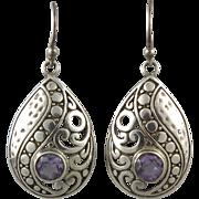 Swirling Amethyst Sterling Silver Paisley Dangle Earrings