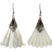 Mother of Pearl Carved Fan and Sterling Silver Earrings
