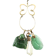 14K Charm Holder with Jade Turquoise and Mother of Pearl Charms