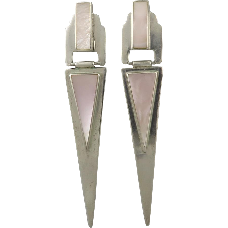 Spectacular Long Sterling and Pink Mother Of Pearl Door Knocker Earrings