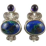 Azurite and Amethyst Sterling Silver Earrings Signed Sajen