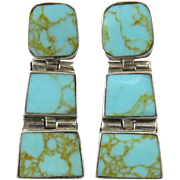 Turquoise Double Hinged Sterling Silver Earrings