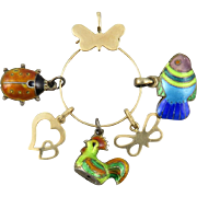 14K Charm Holder with 14K and Whimsical Enamel Charms