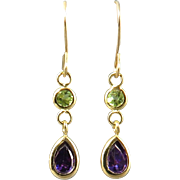 14K Amethyst and Peridot Dangle Earrings