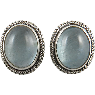 4ctw Aquamarine and Sterling Silver Button Style Earrings